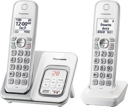 Panasonic Comfort Cordless Telephone with Digital Answering Machine 2 Handsets – White (KX-TGD532W)