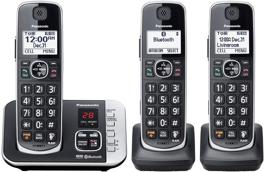 Panasonic Cordless Phone with Link to Cell and Digital Answering Machine, 3 Handsets – Black (KX-TGE663B)