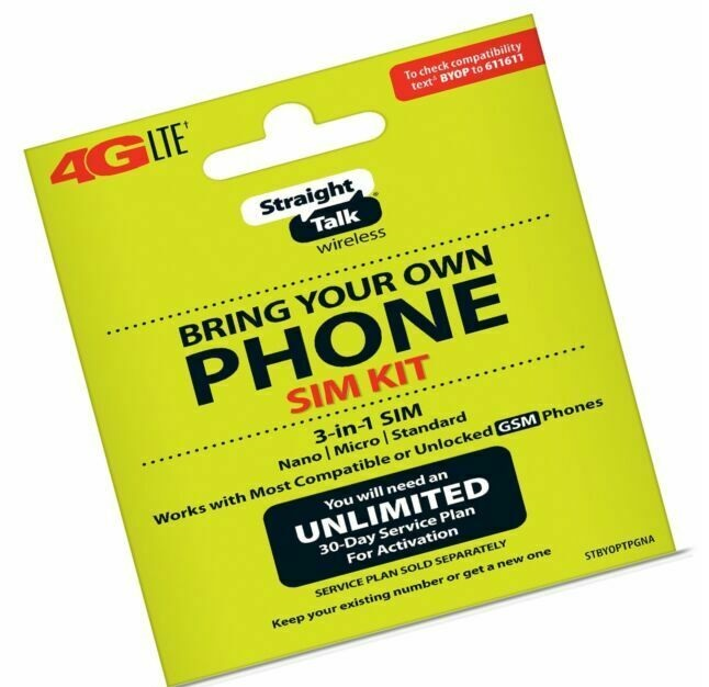 New Straight Talk Bring Your Own Phone 3-Size-In-1 SIM Card Kit AT&T Compatible